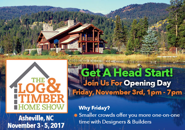 Asheville, NC | Log & Timber Home Show | November 3, 2017 | Opening Day | Log Builders | Timber Frame