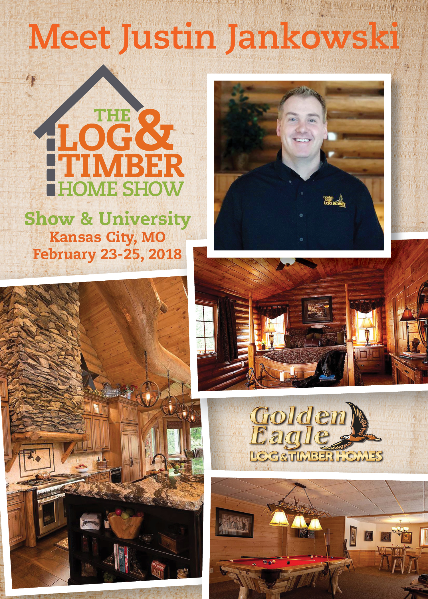 Justin Jankowski | Kansas City, MO 2018 | Log & Timber Home Show | Golden Eagle Log Homes | Workshop Spotlight | February 23-25, 2018