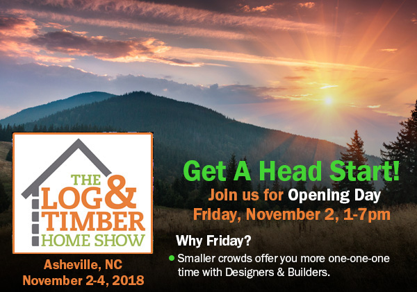Asheville, NC | Log & Timber Frame Home Show | November 2-4, 2018 | Timber Frame Builders | Log Home Manufacturers | Workshops